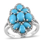 Arizona Sleeping Beauty Turquoise, White Topaz Platinum Over Sterling Silver Cluster Ring (Size 8.0) TGW 4.920 cts.