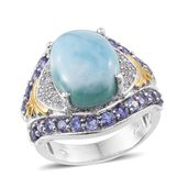 Larimar, Tanzanite, White Topaz 14K YG and Platinum Over Sterling Silver Ring (Size 7.0) TGW 10.950 cts.