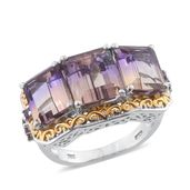 Anahi Ametrine, 14K YG and Platinum Over Sterling Silver Trilogy Openwork Ring (Size 6.0) TGW 11.00 cts.