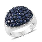 Kanchanaburi Blue Sapphire Platinum Over Sterling Silver Dome Ring (Size 10.0) TGW 4.170 cts.