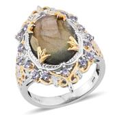 Malagasy Labradorite, Tanzanite 14K YG and Platinum Over Sterling Silver Ring (Size 10.0) TGW 10.400 cts.