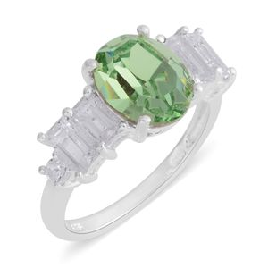 Swarovski Peridot Crystal, White Topaz Sterling Silver Ring (Size 6.5) TGW 4.18 cts.