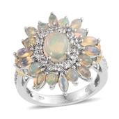 Ethiopian Welo Opal, White Topaz Sterling Silver Clustered Ring (Size 10.0) TGW 3.990 cts.