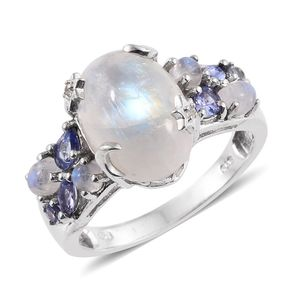 Sri Lankan Rainbow Moonstone, Tanzanite, White Topaz Platinum Over Sterling Silver Ring (Size 6.0) TGW 7.940 cts.