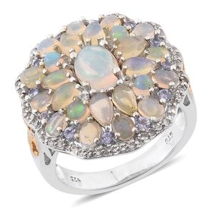 Ethiopian Welo Opal, White Topaz, Tanzanite 14K YG and Platinum Over Sterling Silver Flower Ring (Size 6.0) TGW 4.890 cts.