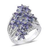 Tanzanite, White Topaz Platinum Over Sterling Silver Ring (Size 9.0) TGW 3.700 cts.
