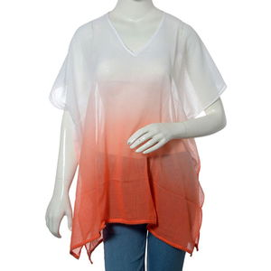 White and Orange Coral 100% Cotton Ombre Tunic