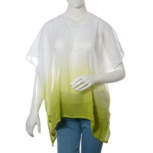 White and Lime 100% Cotton Ombre Tunic