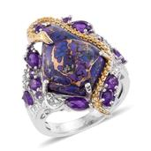 Mojave Purple Turquoise, Amethyst 14K YG and Platinum Over Sterling Silver Ring (Size 8.0) TGW 12.850 cts.