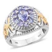 Tanzanite 14K YG and Platinum Over Sterling Silver Openwork Ring (Size 6.0) TGW 1.950 cts.