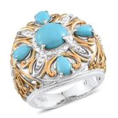 Tribal Collection of India Arizona Sleeping Beauty Turquoise 14K YG and Platinum Over Sterling Silver Openwork Ring (Size 7.0) TGW 3.50 cts.