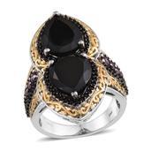 Australian Black Tourmaline, Orissa Rhodolite Garnet, Thai Black Spinel 14K YG and Platinum Over Streling Silver Ring (Size 7.0) TGW 11.42 cts.