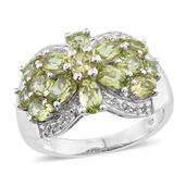 Hebei Peridot, White Topaz Platinum Over Sterling Silver Ring (Size 7.0) TGW 3.410 cts.