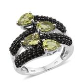 Hebei Peridot, Thai Black Spinel Platinum Over Sterling Silver Openwork Bypass Ring (Size 10.0) TGW 5.300 cts.