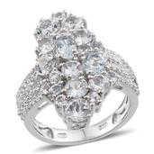 Espirito Santo Aquamarine, White Topaz Platinum Over Straling Silver Elongated Cluster Ring (Size 7.0) TGW 5.140 cts.