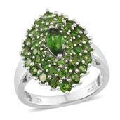 Russian Diopside Platinum Over Sterling Silver Marquise Cluster Ring (Size 7.0) TGW 3.215 cts.