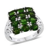 Russian Diopside Platinum Over Sterling Silver Openwork Cluster Ring (Size 9.0) TGW 5.000 cts.