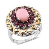 Peruvian Pink Opal, Orissa Rhodolite Garnet 14K YG and Platinum Over Sterling Silver Ring (Size 7.0) TGW 5.050 cts.