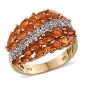 Jalisco Fire Opal, White Topaz 14K YG Over Sterling Silver Ring (Size 7.0) TGW 2.200 cts.