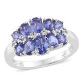 Premium AAA Tanzanite Platinum Over Sterling Silver Ring (Size 6.0) TGW 2.600 cts.