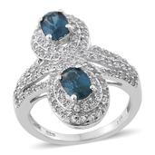 Teal Kyanite, White Topaz Platinum Over Sterling Silver Ring (Size 7.0) TGW 3.000 cts.