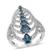 Teal Kyanite, White Topaz Platinum Over Sterling Silver Ring (Size 6.0) TGW 3.595 cts.