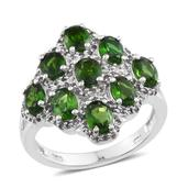 Russian Diopside, White Topaz Platinum Over Sterling Silver Ring (Size 5.0) TGW 4.640 cts.