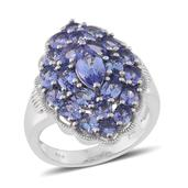Tanzanite Platinum Over Sterling Silver Ring (Size 9.0) TGW 5.02 cts.