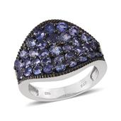 Tanzanite Platinum Over Sterling Silver Cluster Concave Ring (Size 7.0) TGW 3.250 cts.
