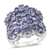 Tanzanite Platinum Over Sterling Silver Floral Cluster Ring (Size 6.0) TGW 6.530 cts.