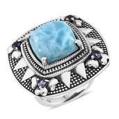 Tribal Collection of India Larimar, Catalina Iolite Sterling Silver Statement Ring (Size 6.0) TGW 13.750 cts.