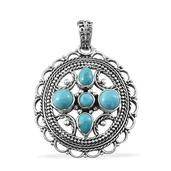 Arizona Sleeping Beauty Turquoise Platinum Over Sterling Silver Pendant without Chain TGW 2.600 cts.
