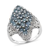 Teal Kyanite, White Topaz Platinum Over Sterling Silver Ring (Size 5.0) TGW 4.02 cts.