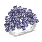Tanzanite, White Zircon Platinum Over Sterling Silver Ring (Size 8.0) TGW 7.380 cts.