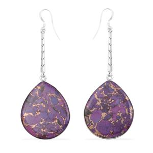 Santa Fe Style Mojave Purple Turquoise Sterling Silver Earrings TGW 12.00 cts.