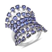 Tanzanite Platinum Over Sterling Silver Ring (Size 6.0) TGW 7.350 cts.