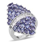 Tanzanite, White Topaz Platinum Over Sterling Silver Elongated Ring (Size 5.0) TGW 7.62 cts.