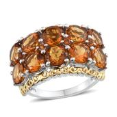 Santa Ana Madeira Citrine 14K YG and Platinum Over Sterling Silver Ring (Size 6.0) TGW 7.600 cts.