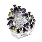 Tribal Collection of India Multi Gemstone Sterling Silver Ring (Size 9.0) TGW 4.490 cts.