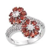 Sunset Red Sapphire, White Topaz Platinum Over Sterling Silver Floral Ring (Size 8.0) TGW 3.900 cts.