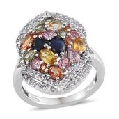 Multi Sapphire Platinum Over Sterling Silver Ring (Size 7.0) TGW 4.650 cts.