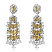 Yellow Sapphire, White Topaz Platinum Over Sterling Silver Earrings TGW 9.840 cts.
