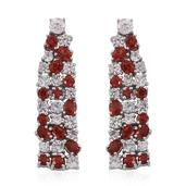 Sunset Red Sapphire, White Zircon Platinum Over Sterling Silver Earrings TGW 9.700 cts.