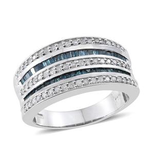 Blue Diamond (IR), Diamond Platinum Over Sterling Silver Ring (Size 9.0) TDiaWt 0.97 cts, TGW 0.970 cts.