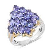 Tanzanite 14K YG and Platinum Over Sterling Silver Ring (Size 9.0) TGW 3.500 cts.