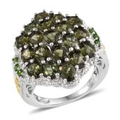 Bohemian Moldavite, Russian Diopside 14K YG and Platinum Over Sterling Silver Ring (Size 7.0) TGW 5.140 cts.