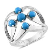 Everlasting by Katie Rooke Arizona Sleeping Beauty Turquoise Platinum Over Sterling Silver Ring (Size 8.0) TGW 1.660 cts.