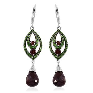 Everlasting by Katie Rooke Mozambique Garnet, Russian Diopside Platinum Over Sterling Silver Lever Back Earrings TGW 14.27 cts.