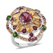 Jewel Studio by Shweta Orissa Rhodolite Garnet, Brazilian Citrine, Russian Diopside Platinum Over Sterling Silver Ring (Size 7.0) TGW 7.280 cts.
