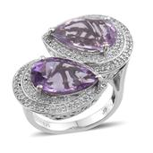 Amethyst, Rose De France Amethyst, White Topaz Platinum Over Sterling Silver Ring (Size 6.0) TGW 10.70 cts.